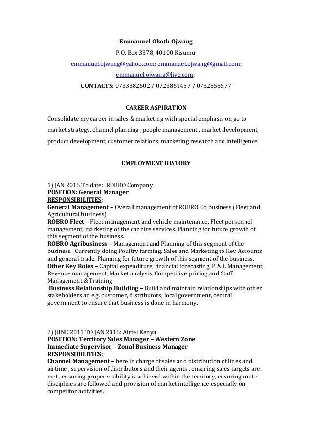 employment channel resume sales business