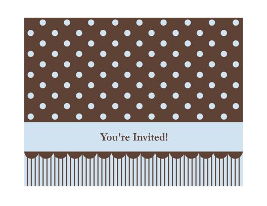 Invitation note card (blue and brown, quarter-fold, A2 size ...