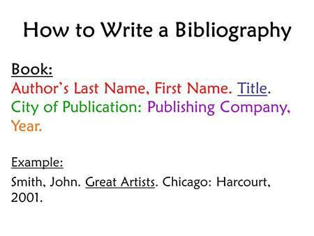 Writing a Bibliography - ppt download