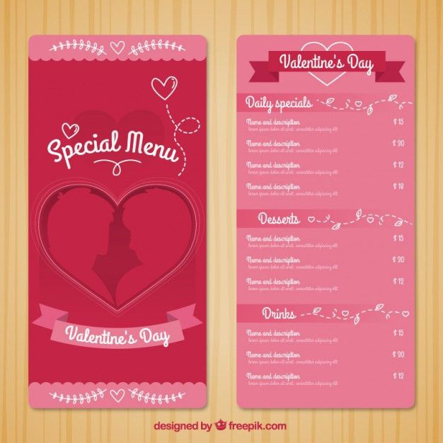 Special menu template for valentine day Vector | Free Download