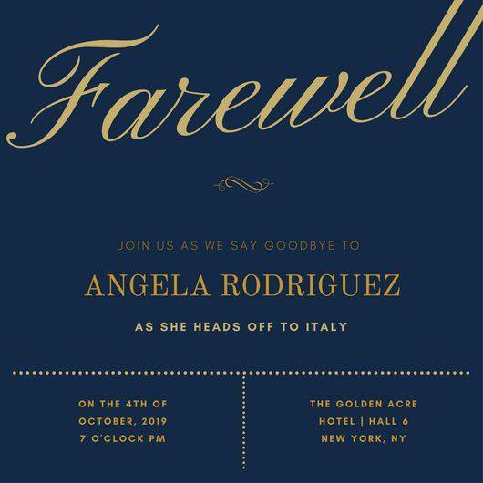 Elegant Gold Dark Blue Farewell Party Invitation - Templates by Canva