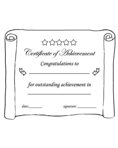 Certificate of Achievement. Printable. Black & white. | worksheets ...