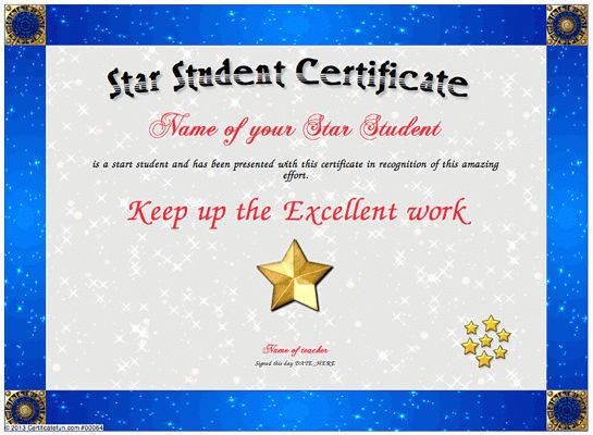 Star Student - For the outstanding student who has worked hard and ...