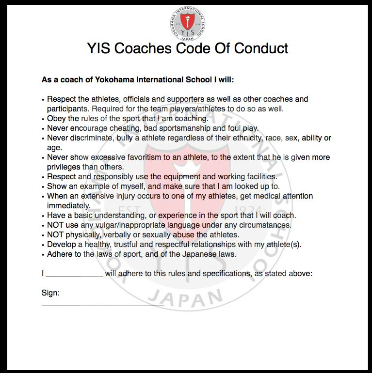 Coaching Code of Conduct | Sports Science and Coaching