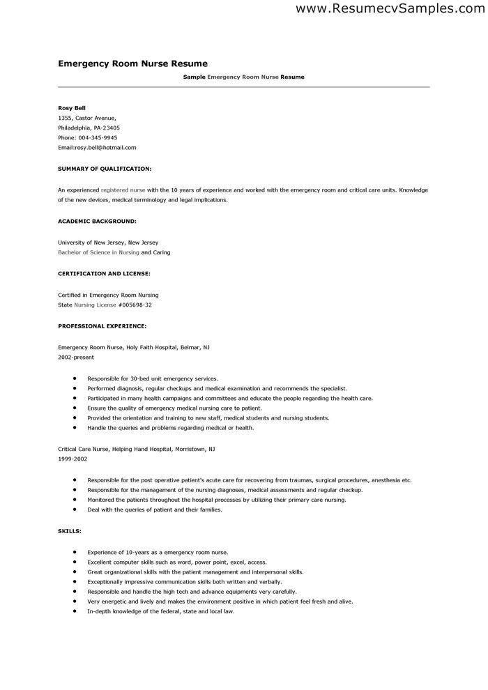 Emergency Room Nurse Skills Resume. experienced nursing resume ...