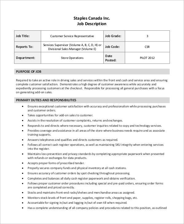Customer Service Resume Responsibilities #10749