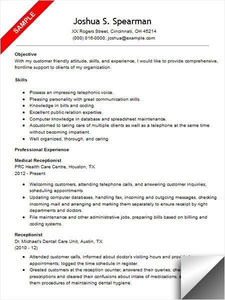 Resume Template For Receptionist. Hotel Reception Resume Objective ...