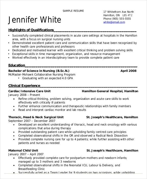 Nursing Resume Clinical Experience Vosvete Simple Resume Image ...
