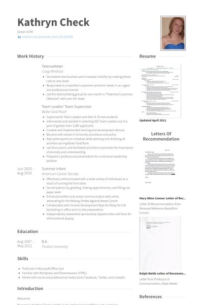Telemarketer Resume samples - VisualCV resume samples database