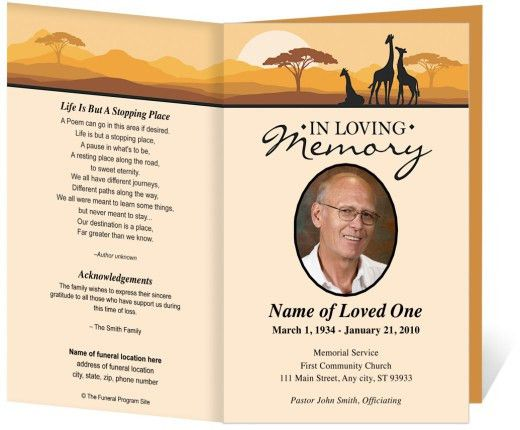 Sample Memorial Program Template. Free Funeral Program Templates ...