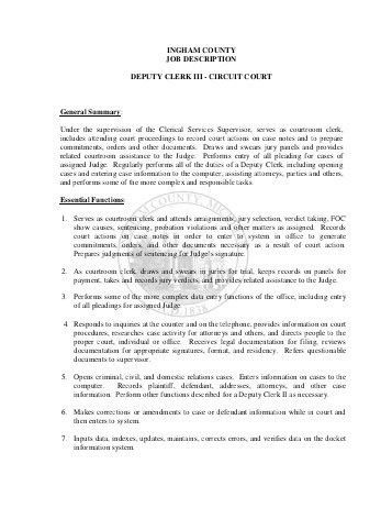INGHAM COUNTY JOB DESCRIPTION LEGAL STENO - FRIEND ...