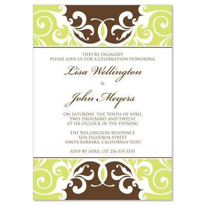 Green & Brown Engagement Party Invitation Templates - Jordana ...