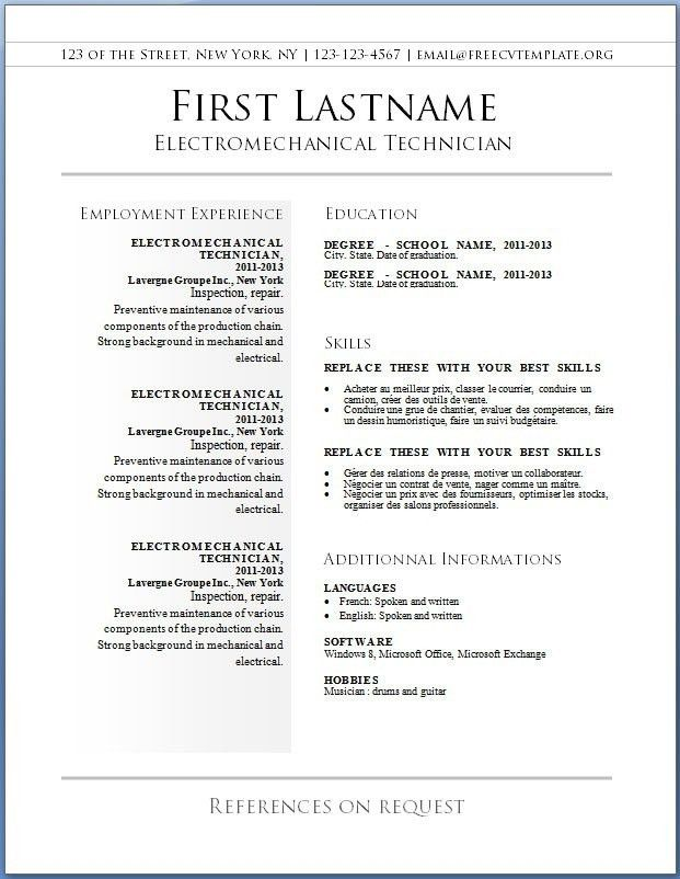 Functional Resume Template Free Download. Word Resume Template ...