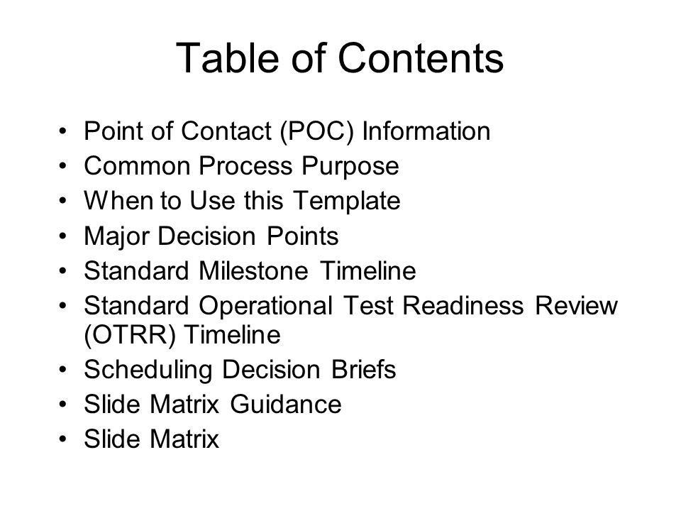 Common Process for Developing Briefings for Major Decision Points ...
