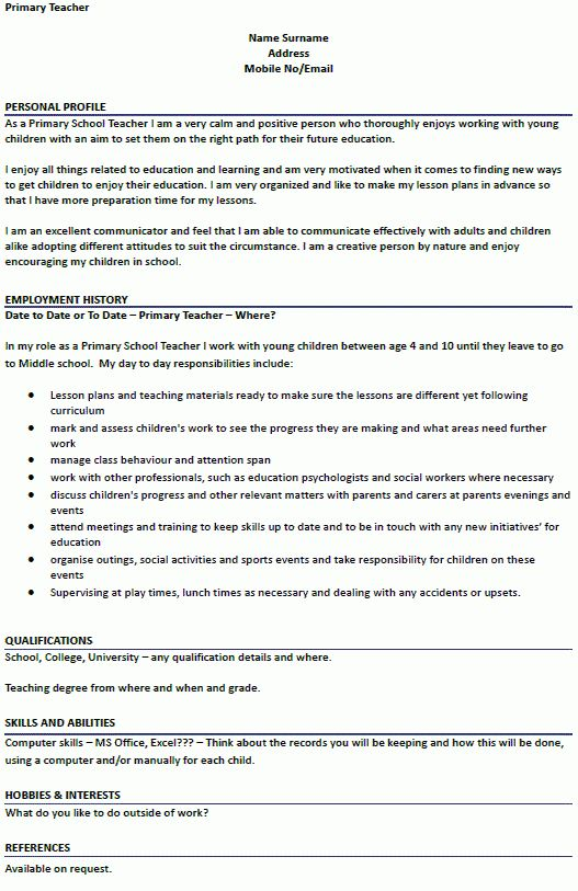 Primary Teacher CV Example for Job Applications - lettercv.com