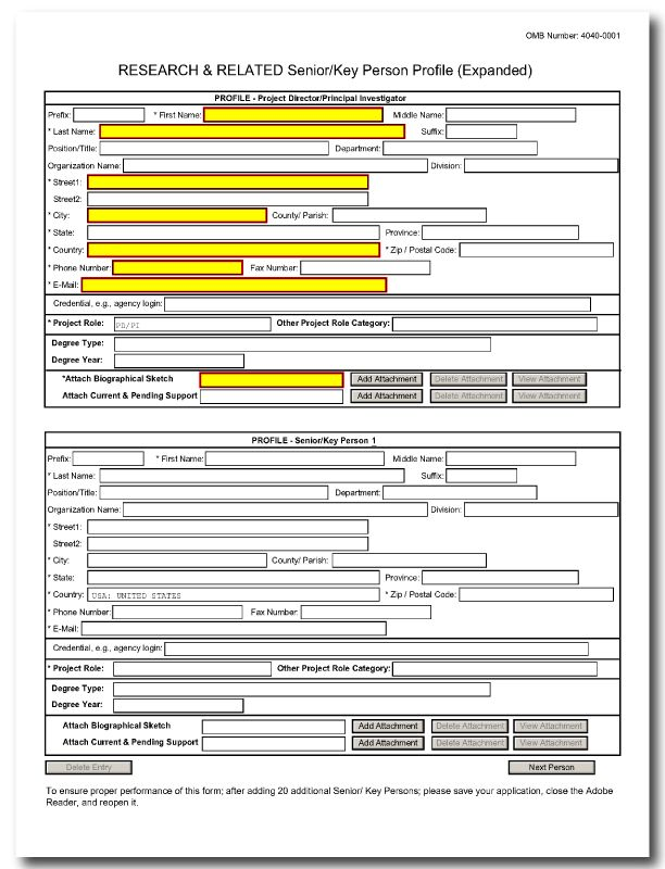 G.240 - R&R Senior/Key Person Profile (Expanded) Form