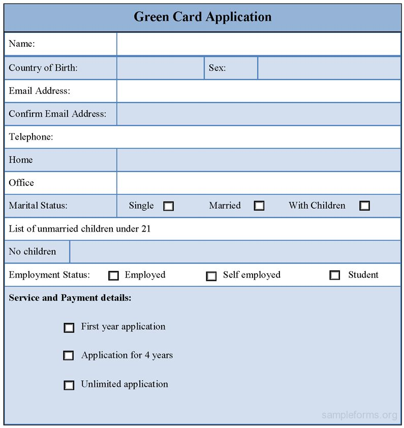 Sample Green Card Application Form | Sample Forms