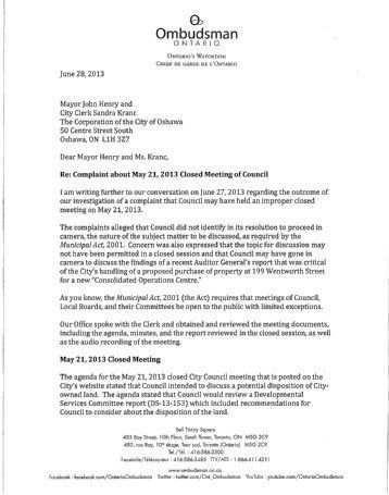 OECD Complaint re: Excellon, Cover Letter, 28 May 2012