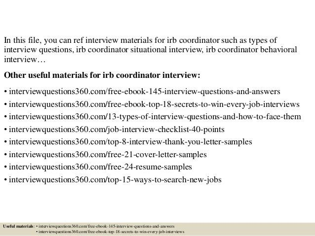 Top 10 irb coordinator interview questions and answers