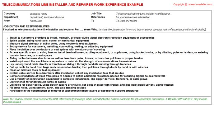 Swimming Pool Installer And Servicer CV Work Experience Samples
