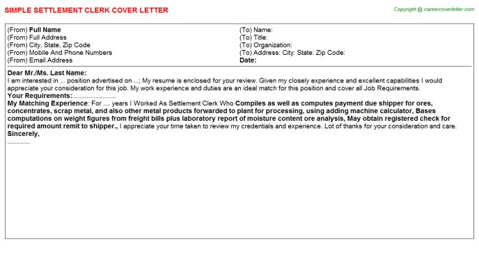 Settlement Clerk Cover Letter
