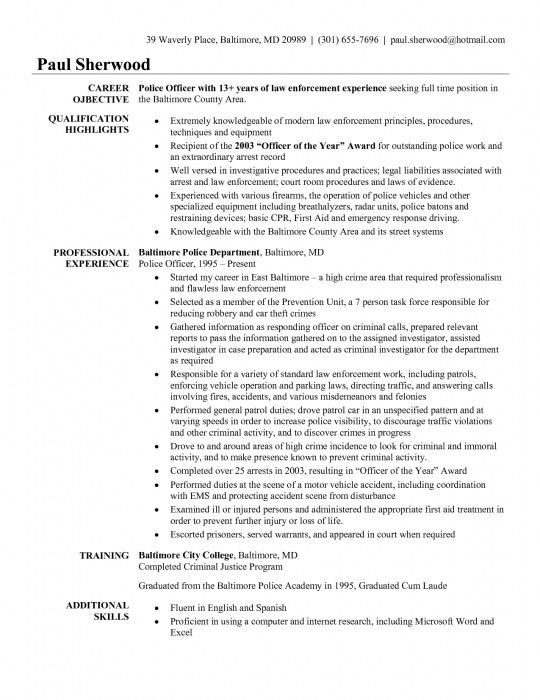 The Most Awesome Police Officer Resume Templates | Resume Format Web