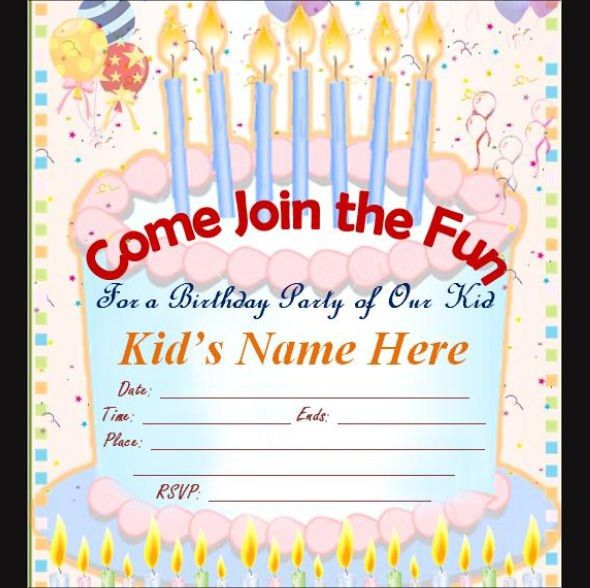 Beautiful Free Birthday Invitation Cards For Kids 67 In Sample ...