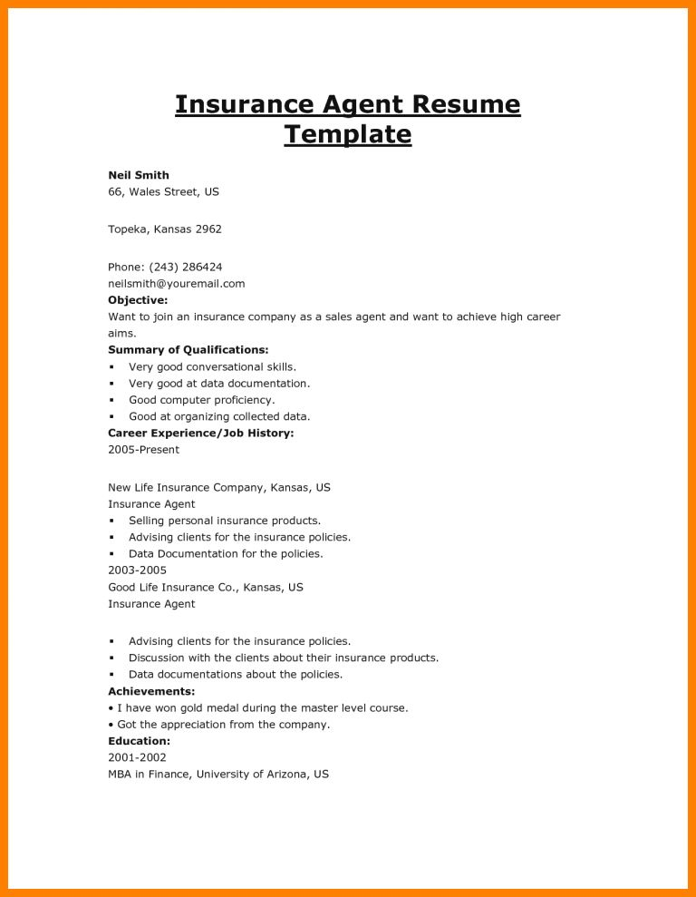 Resume Cover Letter For Insurance Agent | Professional resumes ...