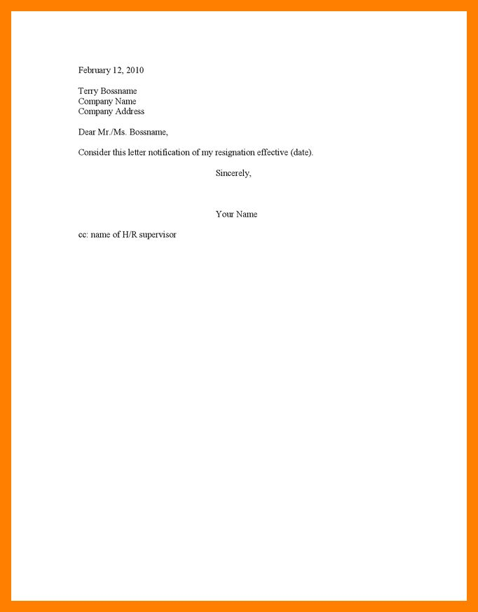 short notice resignation letter example template. 10 resignation ...