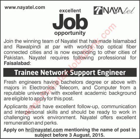 Trainee Network Support Engineer Jobs in Nayatel Faisalabad 2015 ...