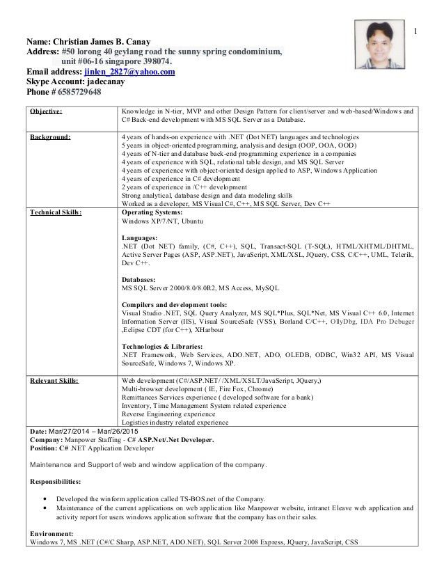 Latest Resume C#,C++ Developer