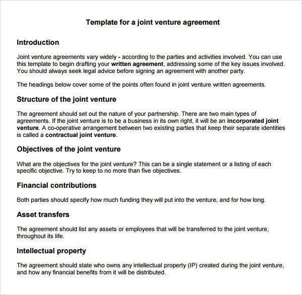 Best Photos of Simple Joint Venture Agreement Template - Sample ...