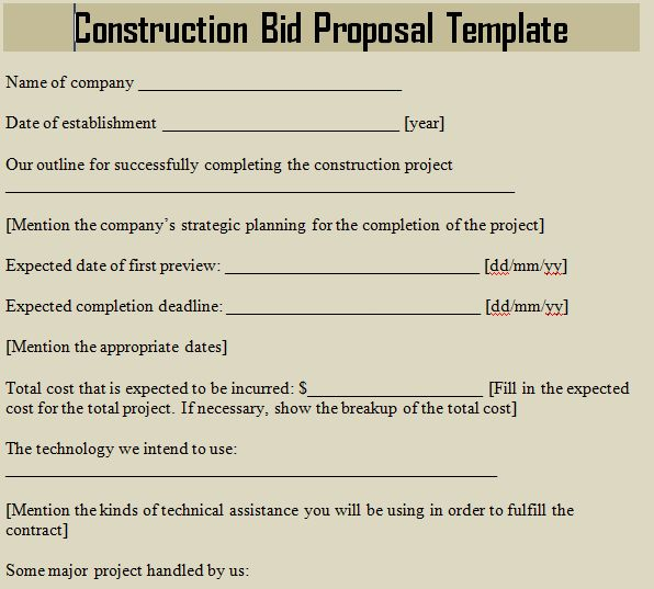 Construction Bid Proposal Template - Microsoft Excel Templates