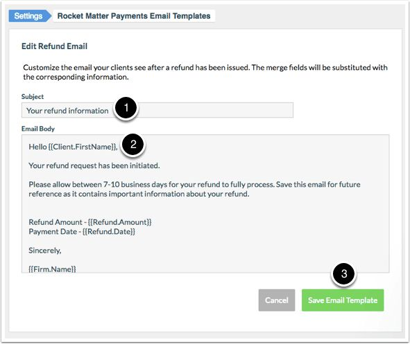 How to edit a Refund Email Template | Rocket Matter Knowledge Base