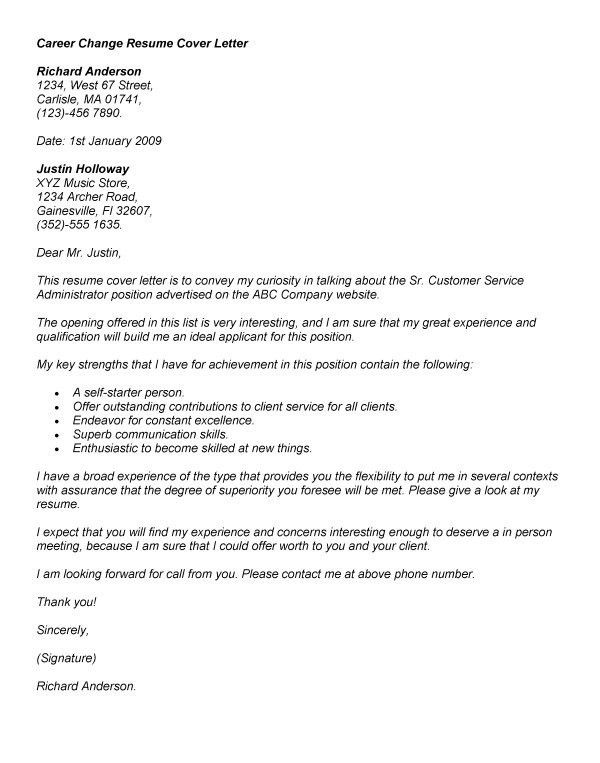 Well-Suited Career Change Cover Letter Samples 14 Persuasive - CV ...