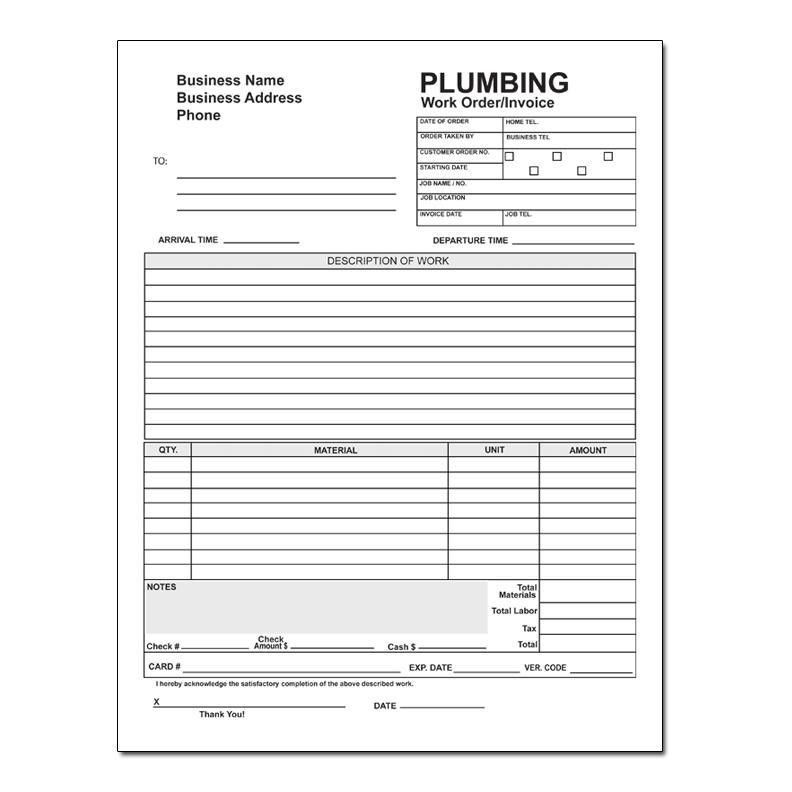 Plumbing Contractor Invoice Forms - Work Order | DesignsnPrint