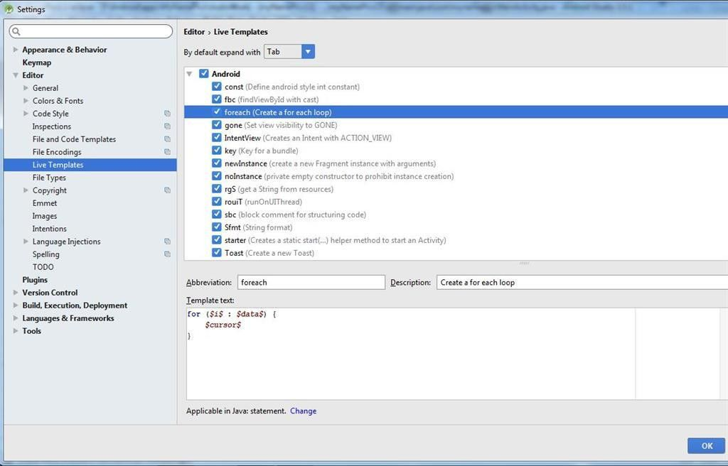 Live Template In Android Studio