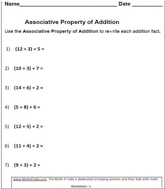 Properties of Addition Worksheets, Associative, Commutative