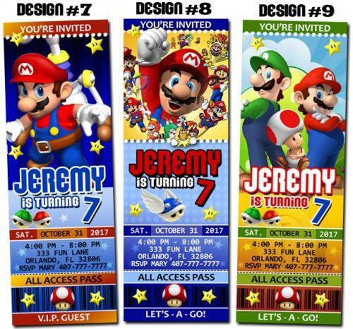 Super Mario Bros Birthday Party Ticket Invitations - Printable ...