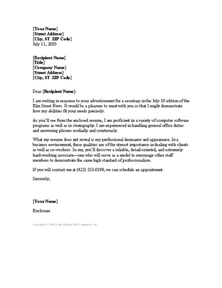 Free Cover Letter Samples For Secretary - Compudocs.us