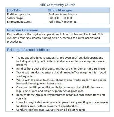 Sample Church Employee Job Descriptions | Job description and Churches