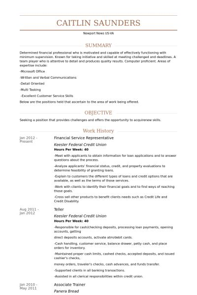 Financial Service Representative Resume samples - VisualCV resume ...