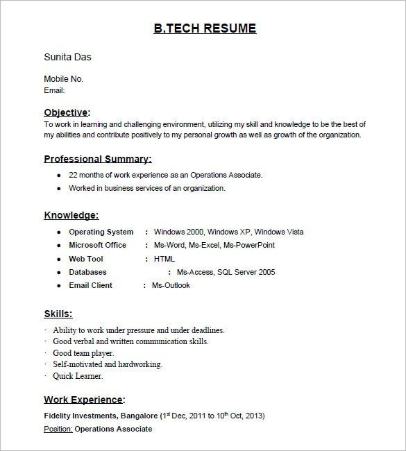 fresherresumemodelforitjobs. free resume templates samples for ...