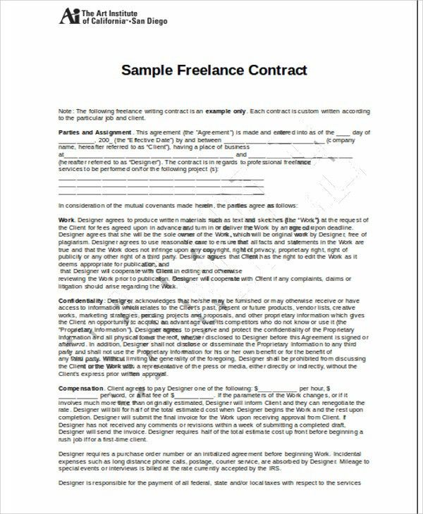 Freelance Contract Agreement. Sample Freelance Freelance Contract ...