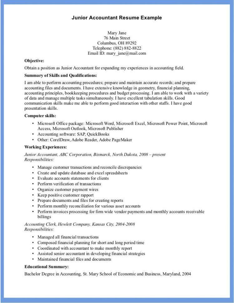 Junior Accountant Resume Sample Accountant Resume Sample ...