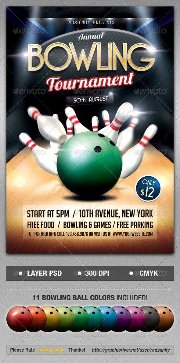 Bowling Tournament Flyer | Bowling, Psd flyer templates and Flyer ...