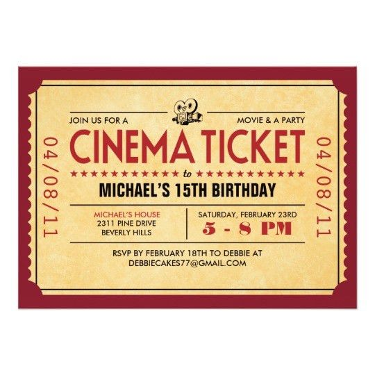 Movie Ticket Invitations & Announcements | Zazzle