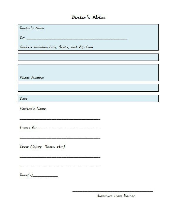 21 Free Doctor Note / Excuse Templates - Template Lab | Cute ideas ...