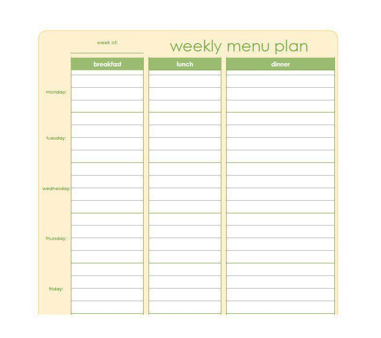 Menu Planning Template. Before And After Results Weekly Meal .