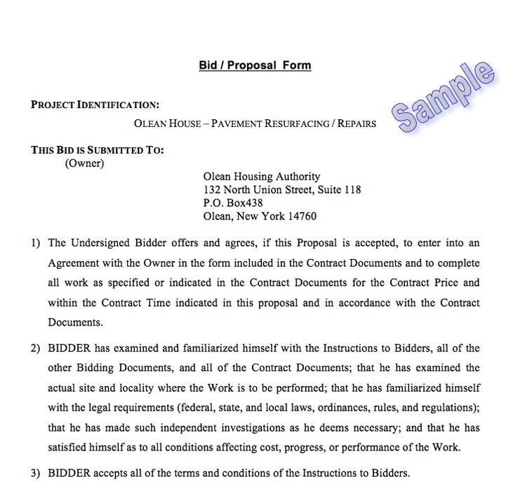 Free Bid Proposal Template 2 - FormXls